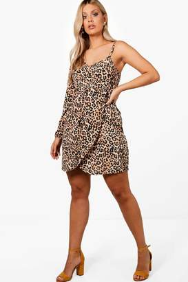 boohoo Plus One Shoulder Leopard Print Wrap Dress