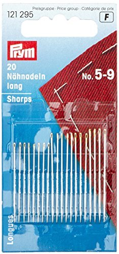 Prym Hand Sewing Needles Sharps 5 - 9 Assorted, Silver with Gold Eye