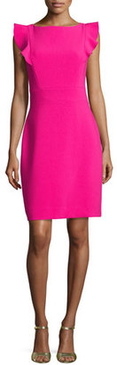 Kate Spade New York Flutter-Sleeve Stretch Crepe Sheath Dress, Pink $298 thestylecure.com
