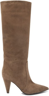 Gianvito Rossi Cone Heel 85 Suede Knee High Boots - Womens - Brown