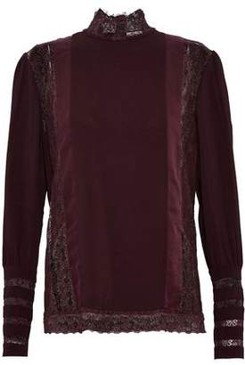 Pierre Balmain Lace And Satin-Trimmed Crepe De Chine Top