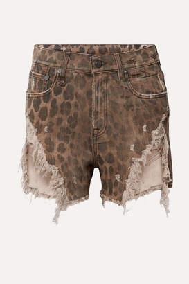 R 13 Distressed Leopard-print Denim Shorts - Leopard print
