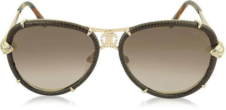 Roberto Cavalli Mebsuta 885S Leather & Gold Metal Aviator Sunglasses