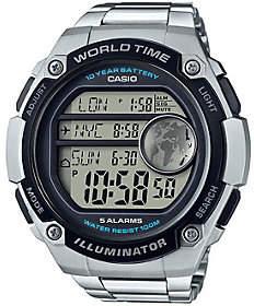 Casio Men's Silver World Time Watch