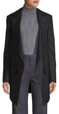 Derek Lam Long Double-Breased Pinstripe Blazer