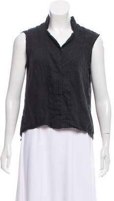 Black Crane Linen Sleeveless Top
