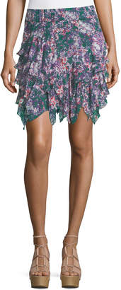 Etoile Isabel Marant Jocky Ruffled Printed Cotton Mini Skirt