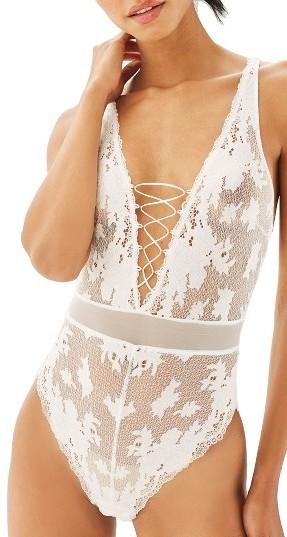 TopshopWomen's Topshop Bride Fleur Sheer Bodysuit