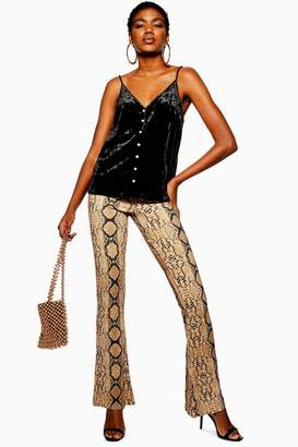 Topshop Snake Flared Trousers