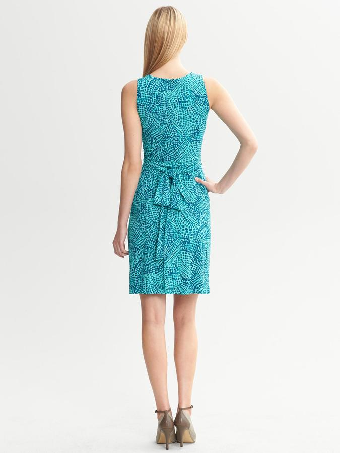 Issa Collection Blue Ceramic Printed Wrap-Tie Dress