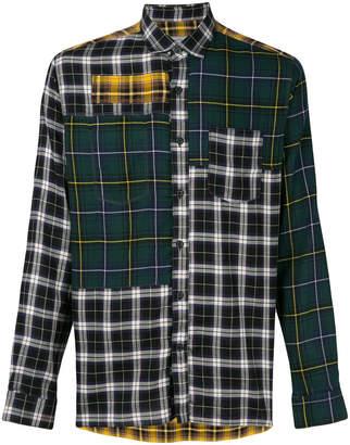 Lanvin contrast panel check shirt