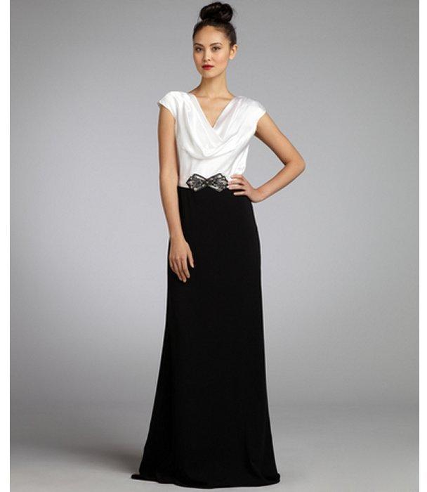Badgley Mischka cream textured silk pleated cowl neck embellished grosgrain belted gown