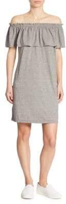 Current/Elliott Solid Off-The-Shoulder Ruffled Dress