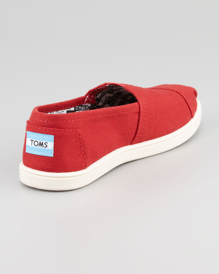 Toms Classic Canvas Slip-On, Red, Youth