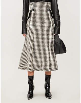 MAME KUROGOUCHI Patterned high-waist flared tweed skirt