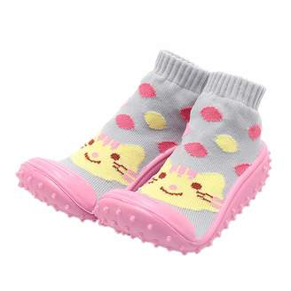 iEndyCn Baby Slipper Socks Toddler Soft Rubber Bottom Anti-Slip Floor Socks Boots First Walking Shoes with Socks for Baby