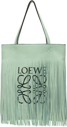 Loewe Green Paula's Ibiza Edition Vertical Fringe Tote