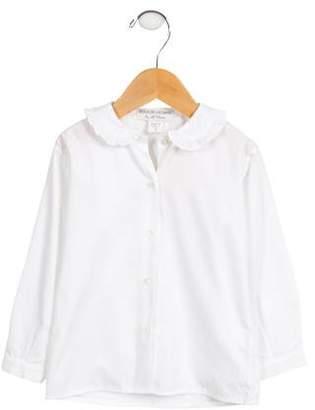 Bergdorf Goodman Girls' Ruffle-Trimmed Button-Up Top w/ Tags