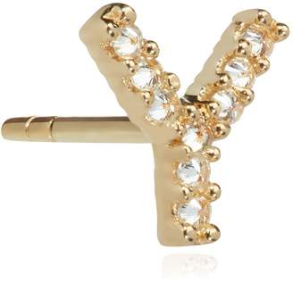 Annoushka Yellow Gold and Diamond Initial Y Single Stud Earring