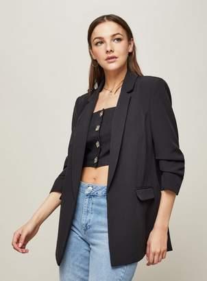 Miss Selfridge Black ruche sleeve blazer