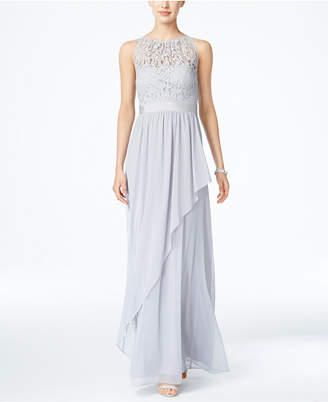 Adrianna Papell Lace Illusion Halter Gown