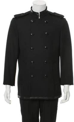 John Richmond Python-Trimmed Wool Jacket