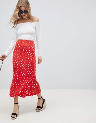 Asos Design DESIGN midi skirt with kickflare in polka dot