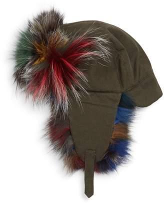 Adrienne Landau Dyed Fox Fur-Trim Trapper Hat