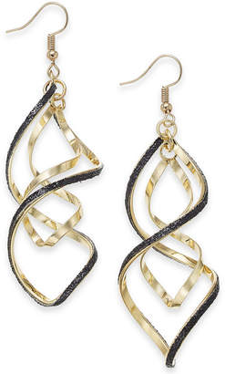 "Thalia Sodi Extra Large Gold-Tone Black Glitter Twist Hoop Earrings, 2.5"""