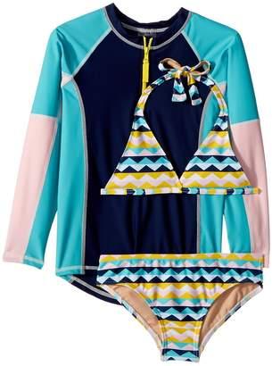 Toobydoo Fun Pattern Bikini Rashguard Set Girl's Swimwear Sets