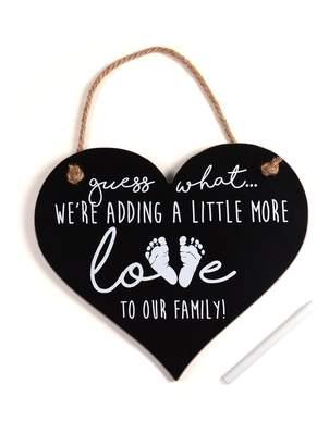 Mud Pie Motherhood Maternity Adding Love Announcement Heart Chalkboard