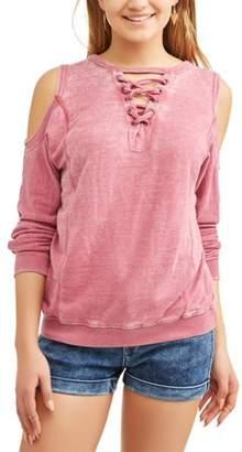 Vanilla Star Juniors' Burnout Lace-Up Cold Shoulder Sweatshirt