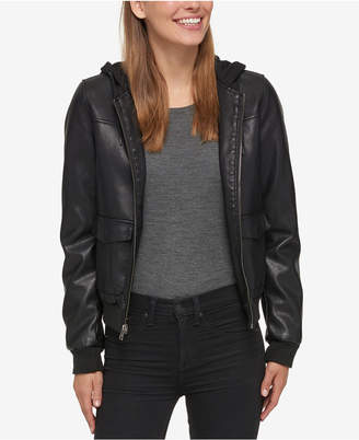 Levi's Hooded Faux-Leather Bomber Jacket