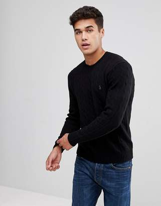 Polo Ralph Lauren Wool/Cashmere Mix Cable Jumper In Black