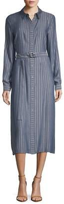 T Tahari Women's Millie Striped Midi Shirtdress