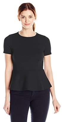 Lark & Ro Women's Short Sleeve Peplum Ponte Top