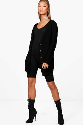 boohoo Lucia Button Up Fisherman Cardigan