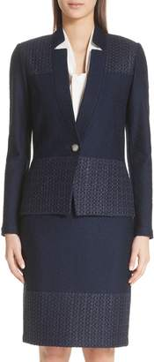 St. John Caris Geo Lace Trim Knit Jacket