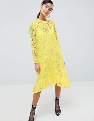 Asos Design Lace Midi Swing Dress With Ruffle Hem