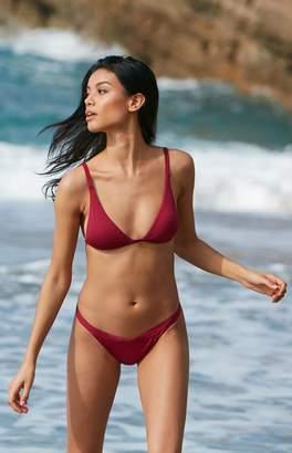LA Hearts Chunky Ribbed Fixed Triangle Bikini Top