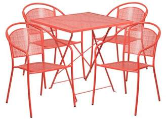 """Flash Furniture 28"""" Square Indoor-Outdoor Steel Folding Patio Table Set with 4 Round Back Chairs, Multiple Colors"""