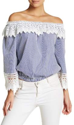 Gracia Crochet Lace Off-the-Shoulder Striped Blouse