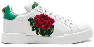 Dolce & Gabbana Sequin Rose Leather Sneaker