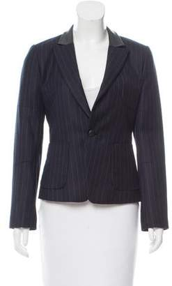 AR+ AR Leather-Accented Pinstripe Blazer