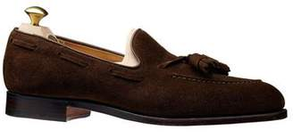 Crockett Jones Crockett & Jones Crockett and Jones Cavendish Suede Tassel Loafer in Dark Brown