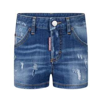 DSQUARED2 Dsquared2Girls Distressed Paint Splash Denim Shorts