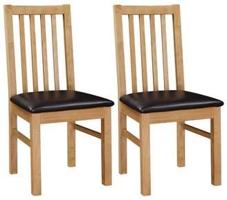 Debenhams Pair Of Oak 'Fenton' Chairs With Brown Seat Pads