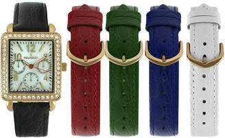 Peugeot Womens Crystal-Accent Interchangeable Leather Strap Watch Set 677G