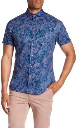 Slate & Stone Modern Fit Leaf Print Button Short Sleeve Shirt