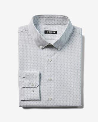 Express Slim Micro Print Button Down Dress Shirt